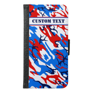 Red White and Blue Camo Smartphone Wallet w/ Text