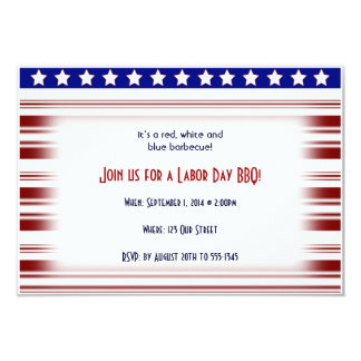 Red White and Blue Candystripe Labor Day 3.5x5 Paper Invitation Card