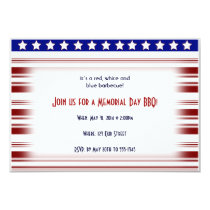 Red White and Blue Candystripe Memorial Day Invitation