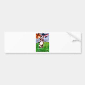 Red, White and Blue Cat Car Bumper Sticker