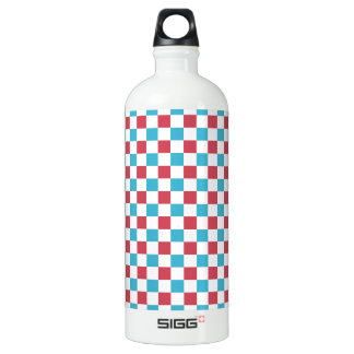 Red, White, and Blue Checkered Water Bottle