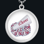 """Red, White, and Blue Cheerleader necklace<br><div class=""""desc"""">Cheerleader&#39;s necklace,  in red,  with,  and blue.  Two red,  blue,  and white pom poms and a white megaphone decorate this great silver necklace.  Text in red and blue reads iCheer.   Makes a great gift for for the cheerleader on your list.</div>"""