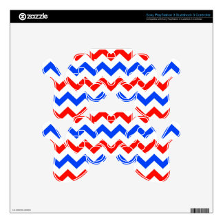 Red, White and Blue Chevron Decal For PS3 Controller