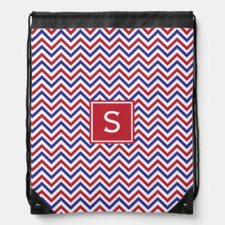 Red White and Blue Chevron Drawstring Backpack