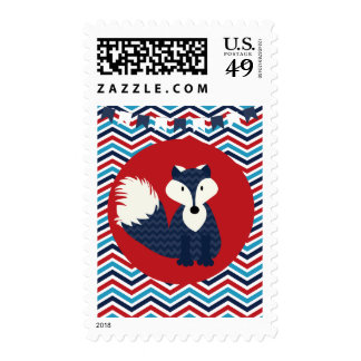 Red, White, and Blue Chevron Fox Postage Stamps