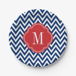 Red White and Blue Chevron Monogram Paper Plate