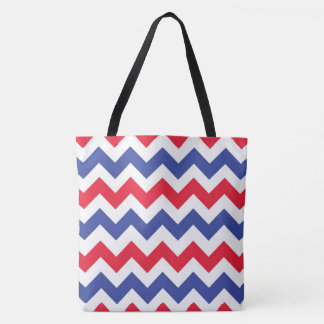 Red white and blue chevron pattern tote bag