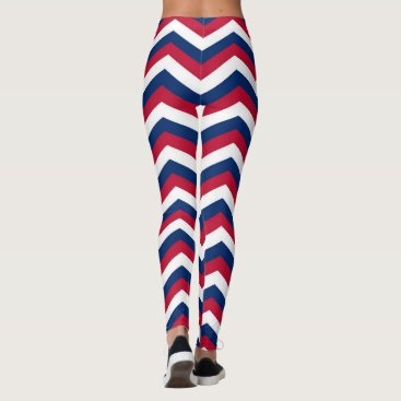 USA Themed Red White and Blue Chevron Zigzag Pattern Leggings