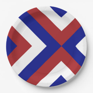 Red, White, and Blue Chevrons 9 Inch Paper Plate