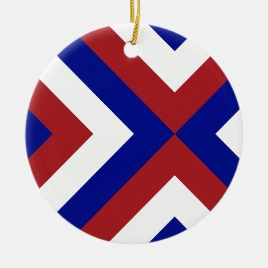 Red, White, and Blue Chevrons Ceramic Ornament