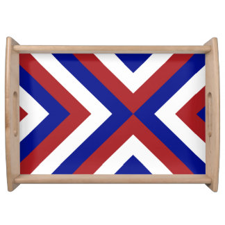 Red, White, and Blue Chevrons Food Tray