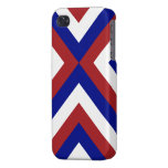 Red, White, and Blue Chevrons iPhone 4 Cases