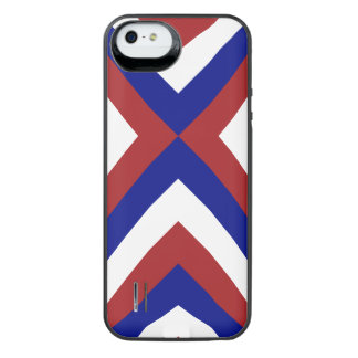 Red, White, and Blue Chevrons iPhone SE/5/5s Battery Case
