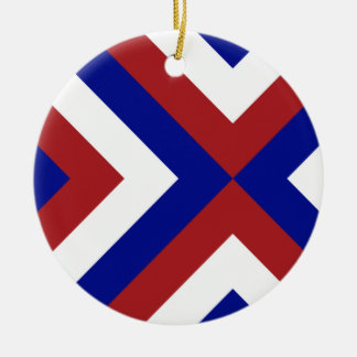 Red, White, and Blue Chevrons Double-Sided Ceramic Round Christmas Ornament