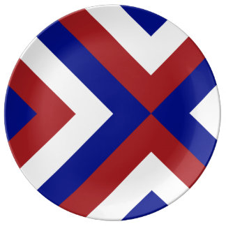Red, White, and Blue Chevrons Porcelain Plate