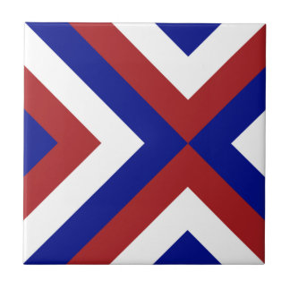 Red, White, and Blue Chevrons Small Square Tile