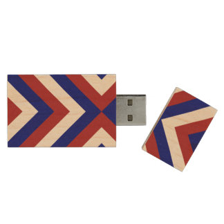 Red, White, and Blue Chevrons Wood USB Flash Drive