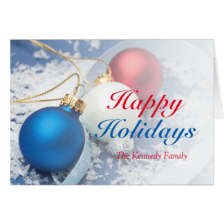 Red, white and blue Christmas ornaments Card