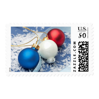 Red, white and blue Christmas ornaments Postage