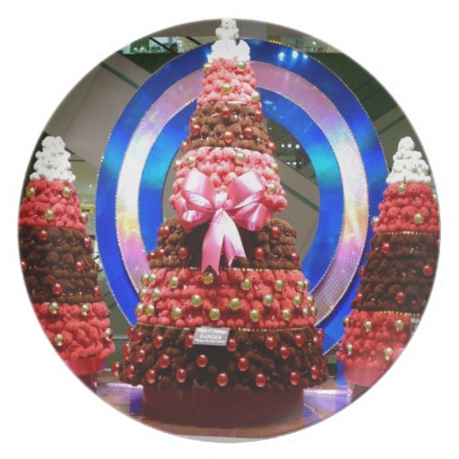 Red White And Blue Christmas Trees Plate Zazzle
