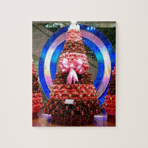 Red White And Blue Christmas Trees Puzzle Zazzle