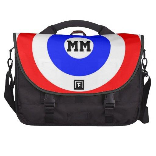 Red white and blue  circle pattern  customizable laptop bag