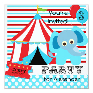 Red, White, and Blue Circus Birthday Invitations