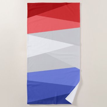 Red White and Blue Color Stacks Beach Towel