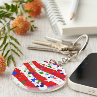 Red White and Blue Confetti Keychain