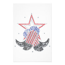 Red White and Blue Cowboy boots Stationery