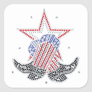 Red White and Blue Cowboy boots Square Sticker