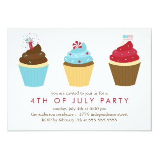 Red White and Blue Cupcakes 4th of July Party Card