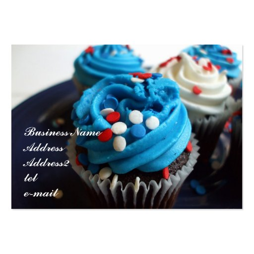 Red, white and blue cupcakes business card