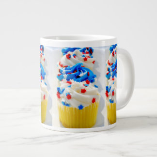 Red, White and Blue Cupcakes Giant Coffee Mug