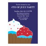 "Red White and Blue Cupcakes Invitation 5"" X 7"" Invitation Card"