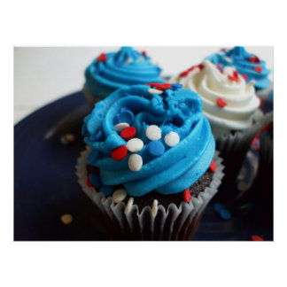 Red,white, and blue cupcakes poster