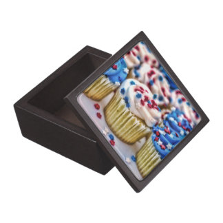 Red, White and Blue Cupcakes Premium Jewelry Boxes