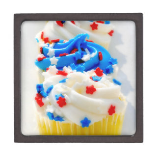 Red, White and Blue Cupcakes Premium Trinket Boxes