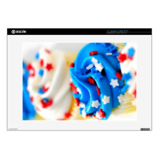 Red White and Blue Cupcakes Skin Decal For Laptop