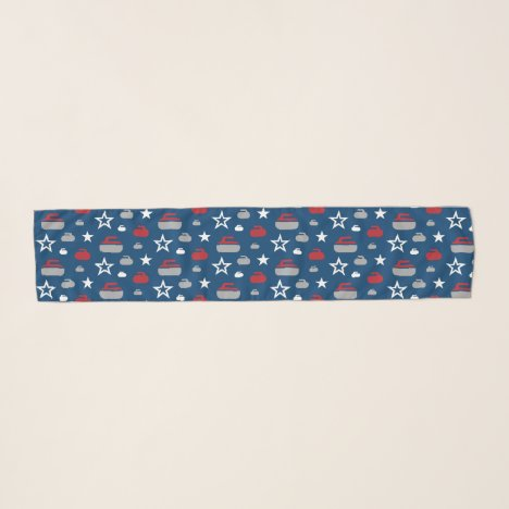 Red, White and Blue Curling Rocks Chiffon Scarf