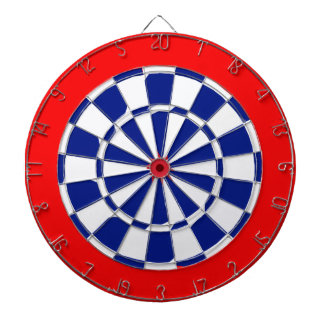 Red white and blue dart boards