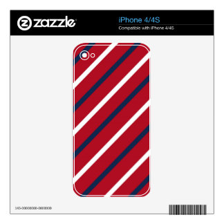 Red, White and Blue Diagonal Stripe Decal For The iPhone 4