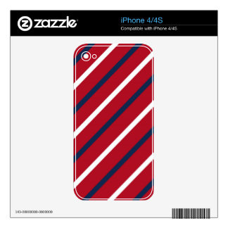 Red, White and Blue Diagonal Stripe iPhone 4 Skins