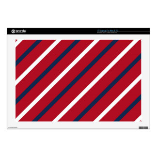 Red, White and Blue Diagonal Stripe Skins For Laptops