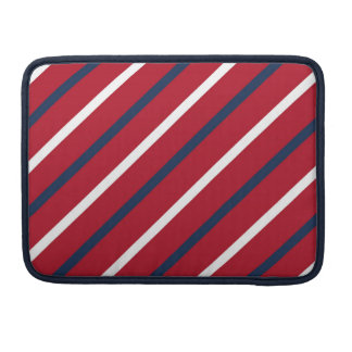 Red, White and Blue Diagonal Stripe Sleeve For MacBooks