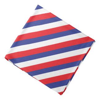 Red, White and Blue Diagonal Stripes Bandana
