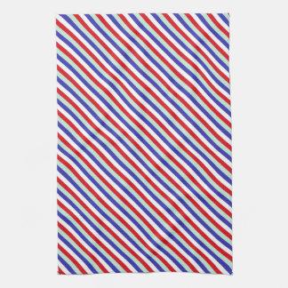 Red, White, and Blue Diagonal Stripes Kitchen Towel