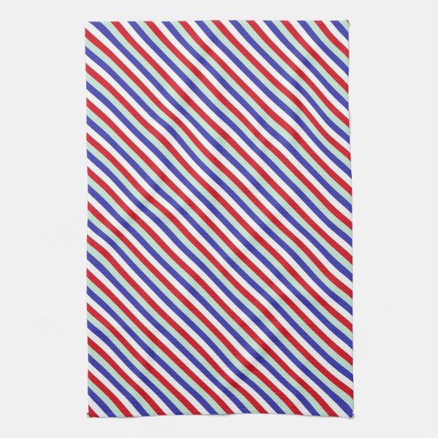Red, White, And Blue Diagonal Stripes Kitchen Towel | Zazzle.com