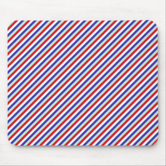 Red, White, and Blue Diagonal Stripes Mouse Pad