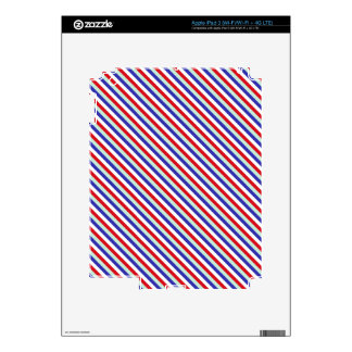 Red, White, and Blue Diagonal Stripes Decals For iPad 3